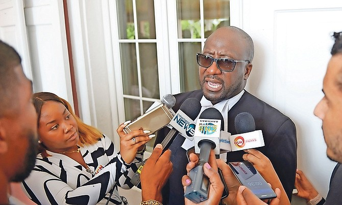 Garvin Gaskin pictured speaking to the media after being sworn in as the new Director of Public Prosecutions at Government House. Photo: Shawn Hanna/Tribune Staff