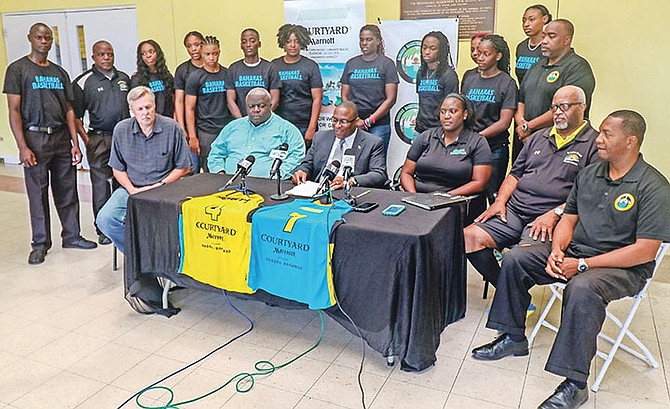 Minister of Youth, Sports and Culture Michael Pintard makes comments at the announcement of the women's national team. Photo - John Nutt. 10th Year Seniors.