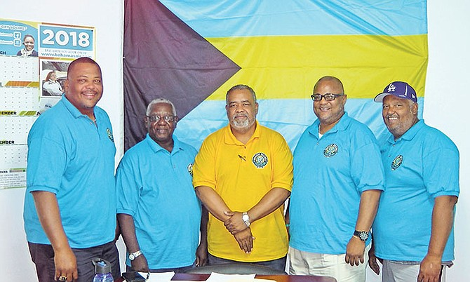BBA executives (l-r) are the chairman of technical committee Shane Albury, president Samuel Rodgers, tournament director Terran Rodgers, BOC president Romell Knowles and umpire in chief Martin Burrows.