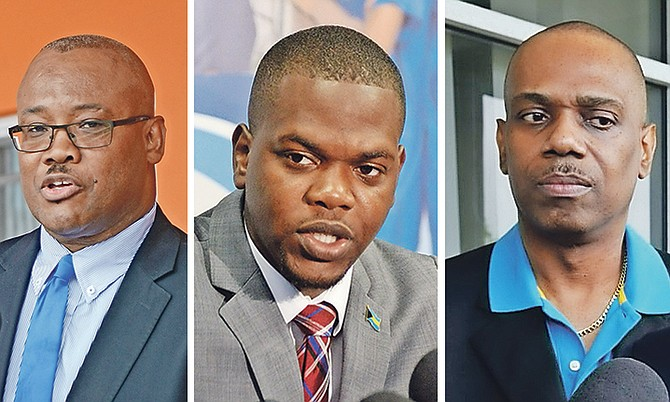 FIRED: Golden Isles MP Vaughn Miller, Bain and Grants Town MP Travis Robinson and Pineridge MP Frederick McAlpine.