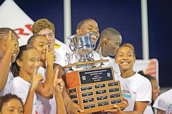 THE Mako Aquatic Club celebrates after winning the nationals. Photo: Shawn Hanna/Tribune Staff