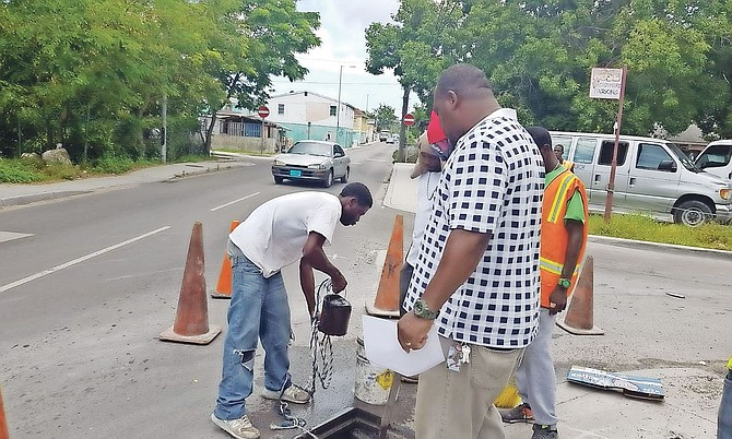 Repair crews in action tackling water pumps and stand pipes Over-the-hill.