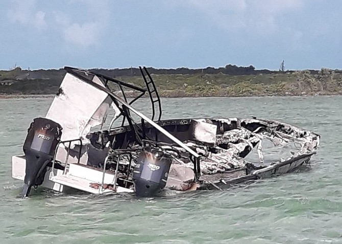 A photo from social media reportedly of the remains of the boat.
