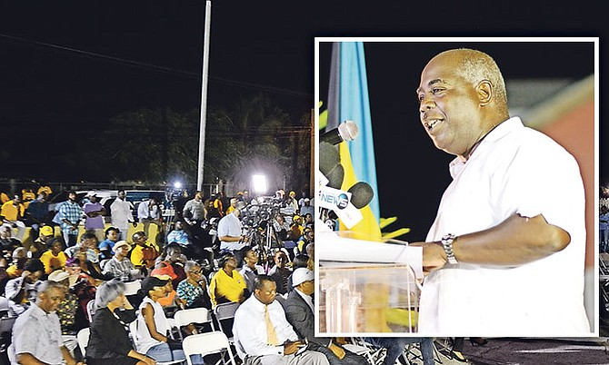 "Opposition Leader Philip ""Brave"" Davis speaks at the PLP rally.