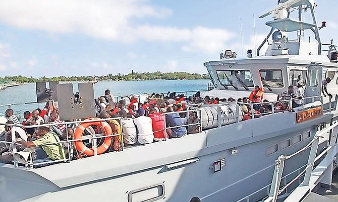 Detainees on board a RBDF vessel after two migrant sloops were intercepted. Photo: RBDF