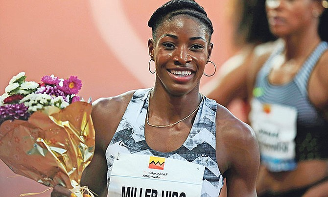 Shaunae Miller-Uibo, of the Bahamas, smiles after winning the 200m in the IAAF Diamond League meeting in Rabat, Morocco, on Friday.