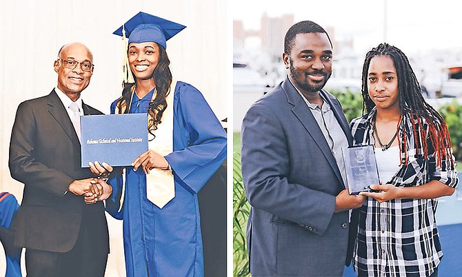 LEFT: Minister of Education Jeff Lloyd congratulates Lanique Brice, a 2018 BTVI graduate, who is the lead operator at DTEC Plant Services. RIGHT: Santana Dean receives the award for being the most outstanding graduate in BTVI's Electrical Installation programme for 2018.
