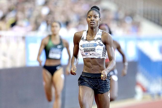 Shaunae Miller-Uibo competes in the women's 400m during the IAAF Diamond League Athletics meeting at the Louis II Stadium in Monaco, Friday. (AP Photo/Claude Paris)