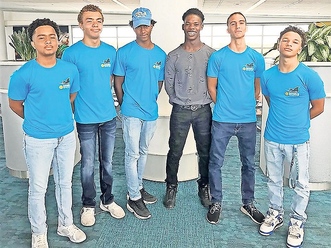 BAHAMAS national team water polo players (l-r) Nicholas Wallace-Whitfield, Alexander Turnquest, Damian Gomez, Saequan Miller, Gabriel Encinar and Thor Sasso. Missing is Gabriel Sastre.