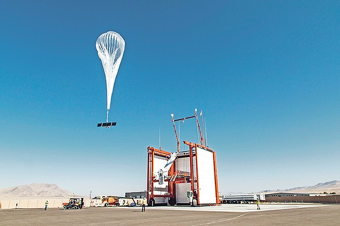 In this photo provided by Loon LLC, a balloon launches from Loon's launch site Winnemucca, Nev. Loon, the internet-delivering-balloon unit of Google-parent Alphabet, is announcing its first commercial deal. The company says it will work with partner Telkom Kenya to deliver 4G/LTE cellular access to Kenya in 2019. Photo: AP