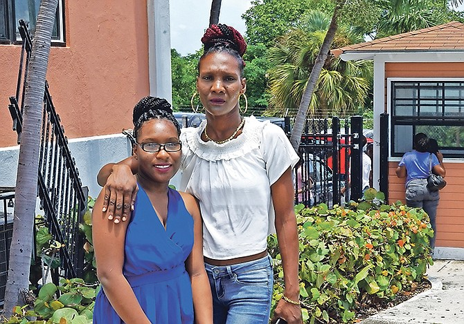 Taranique Thurston, aged 15, is still waiting for paperwork to allow her to travel to the United States for treatment of a life-threatening brain cyst. Taranique, pictured with her mother, Ginette Caty, was hopeful, however, saying she hoped to meet Prime Minister Dr Hubert Minnis so she could make her appeal in person. 