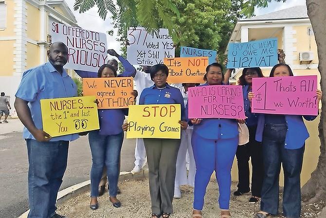 Members of the Bahamas Nurses Union protest outside Princess Margaret Hospital. Photo: Morgan Adderley/Tribune Staff