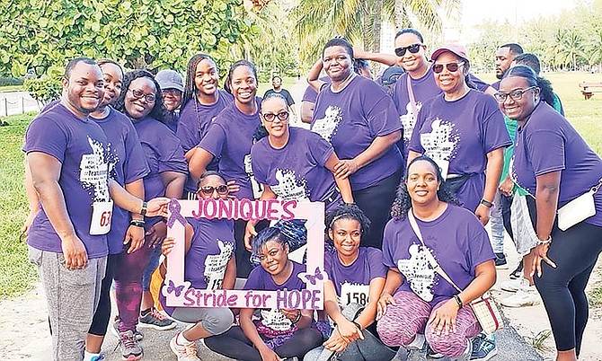 Jonique Webb's co-workers from the Securities Commission came out to show support for her fun run/walk.