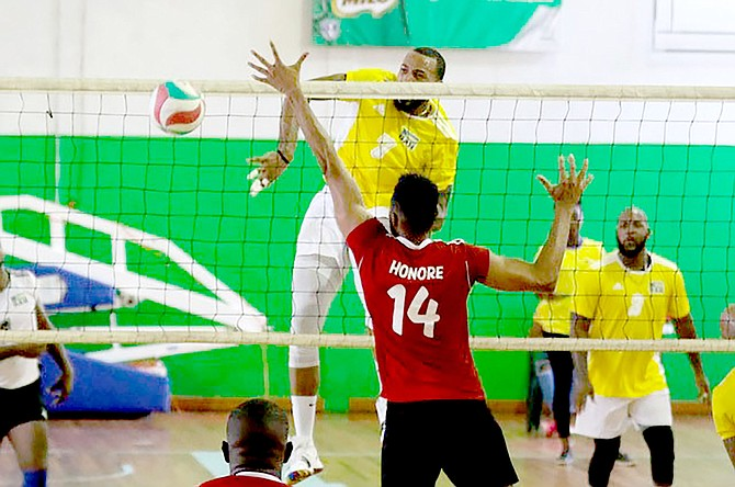 THE BAHAMAS' Byron Ferguson coming through for the kill in the victory over Trinidad & Tobago in five sets yesterday. Afterwards, the Bahamas played Suriname in the championship game.