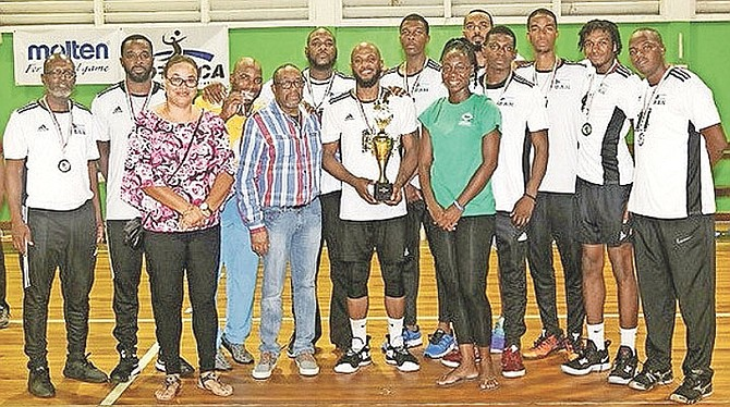 The Bahamas men's volleyball team receive their silver medals.