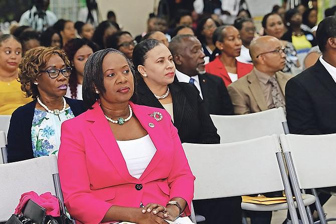 Bahamas Union of Teachers President Belinda Wilson at an orientation ceremony for new teachers held at Uriah McPhee Primary School. Photo: Patrick Hanna/BIS