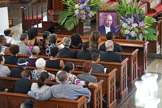 Inside Christ Church Cathedral during James Catalyn's funeral. Photo: Terrel W Carey/Tribune staff