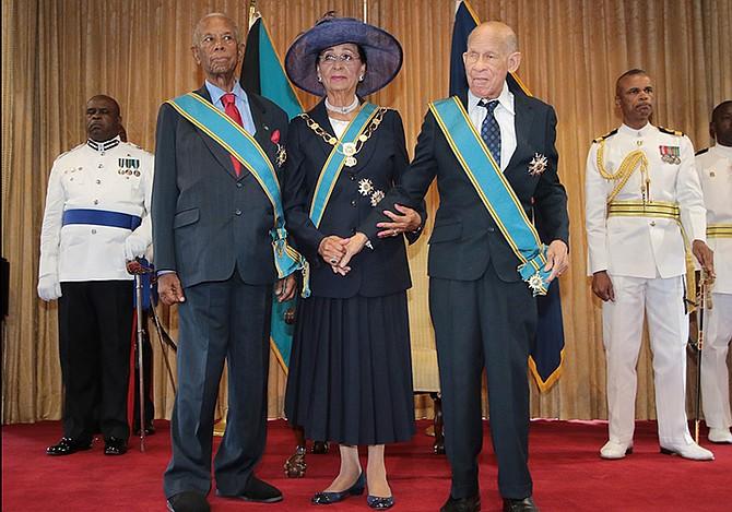 Pictured from left, Sir Orville Turnquest, Governor General Dame Marguerite Pindling, and Arthur Hanna. Photo: Derek Smith/BIS