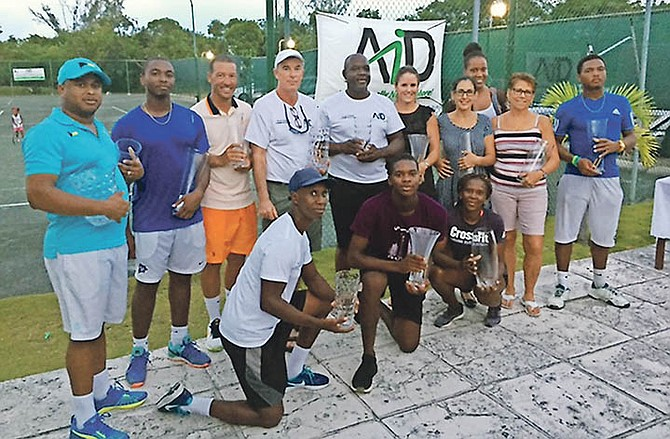 Finalists of the 26th annual AID Clay Court Championships with their awards.