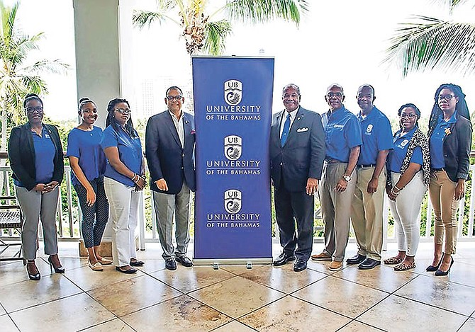 GOLF Classic organising committee members with Baha Mar Senior Vice President of Government & Community Relations Robert Sands, University President Dr Rodney D Smith and Director of Development and Golf Classic Organizing Co-Chair Peter Mitchell pose following a press conference to announce the inaugural President's Golf Classic and Spa Day on Saturday, November 3.