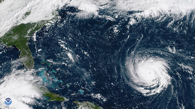This Sept. 10, GOES East satellite image provided by NOAA shows Hurricane Florence as it threatens the U.S. East Coast.
