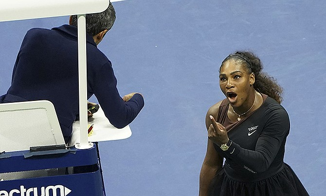 Serena Williams argues with chair umpire Carlos Ramos during the match against Naomi Osaka. (AP)