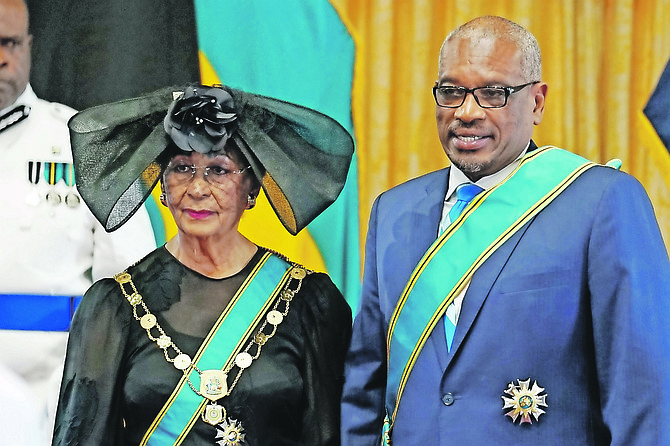 Prime Minister Dr Hubert Minnis was among those receiving awards at the first official National Honours investiture.