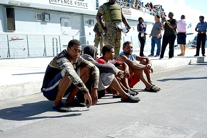 Some of the Dominicans detained by the RBDF.