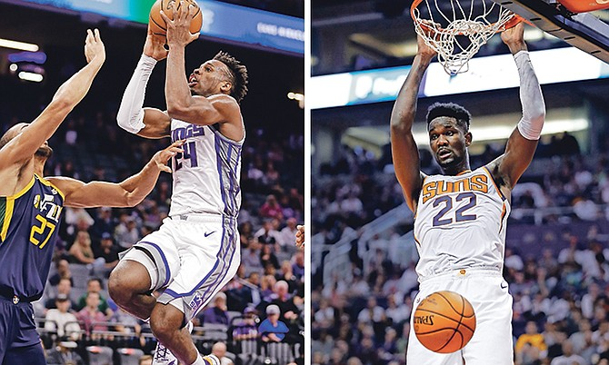 LEFT: Kings guard Buddy Hield, starting at small forward, scored 19 points with six rebounds and an assist in 32 minutes of action against the Jazz on Wednesday night. (AP)
