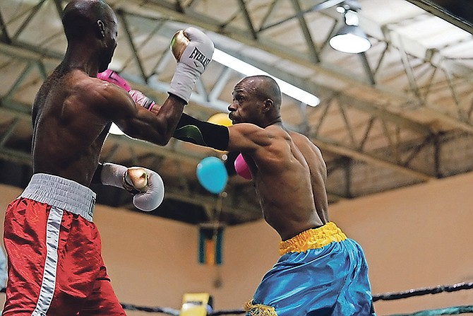 ON THE REPLAY: Meacher 'Major Pain' Major in action against Martin Anderson, of Jamaica, in the main event of the 'The Last Dance' at the CI Gibson Gymnasium on Saturday.