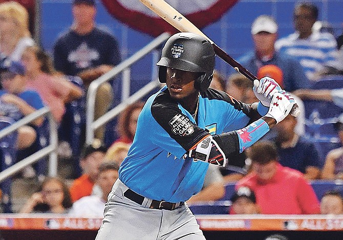 "Lucius Fox, of the Bahamas, at bat during the 2017 MLB Futures Game at Marlins Park. Fox has been named to the West roster of the league's 13th Annual ""Fall Stars"" Game, a showcase for several of the game's top prospects."