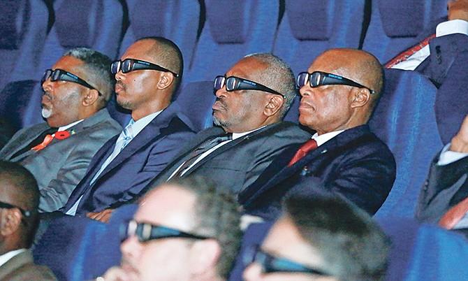 Prime Minister Dr Hubert Minnis (centre) at a screening at the Fusion Superplex. Photos: Donavan McIntosh
