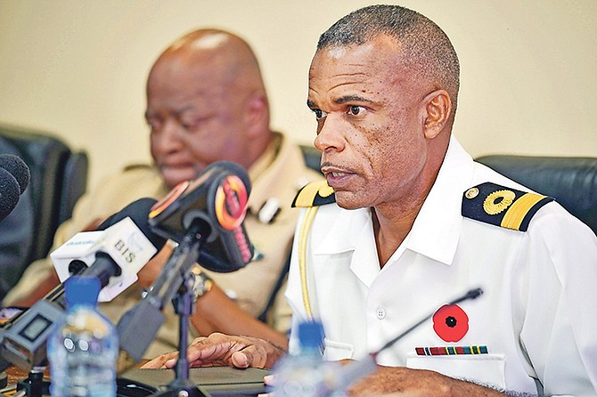 Royal Bahamas Defence Force Commodore Tellis Bethel speaks on Friday. Photo: Terrel W. Carey Sr/Tribune Staff