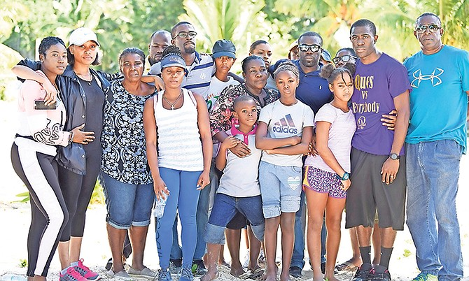 The family of Byron Ferguson at Nirvana Beach during a press conference after pilot Byron Ferguson went missing. Photo: Shawn Hanna/Tribune Staff
