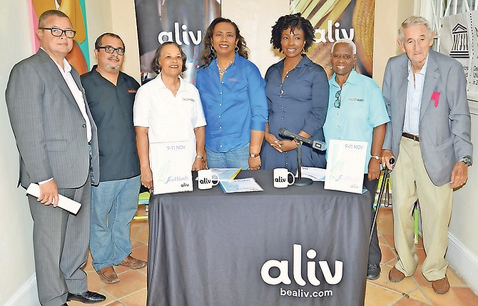 THE PRESS conference to announce the official launch of the SeaWords Bahamas Literary Festival. (Left to right) Paul McWeeney, President, Sunshine Insurance (Arawak Homes—Diamond Sponsor); Neko Meicholas, Communications, Creative Nassau; Pamela Burnside, President, Creative Nassau; Patrica Glinton-Meicholas, VP, Creative Nassau; Gravette Brown, Chief Aliv Commercial Officer (Aliv, Title Sponsor); Rosemary Hanna, Member, Creative Nassau and Richard Coulson, Member, Organising Committee, SeaWords Bahamas.