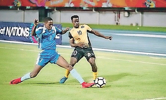 BALL IN PLAY: Lesly St Fleur (right) in action in the CONCACAF Nations League match against Anguilla. Photo: Terrel W Carey Sr /Tribune Staff