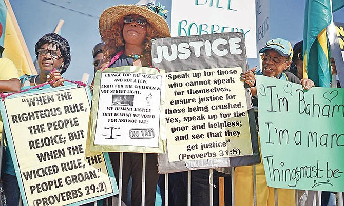 The Enough is Enough march in Nassau last Wednesday. Photo: Terrel W Carey/Tribune staff