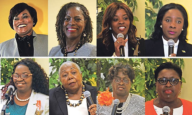 CLOCKWISE FROM TOP LEFT: MICAL MP Miriam Reckley-Emmanuel, Fox Hill MP Shonel Ferguson, Arinthia Komolafe, Minister of Youth, Sports and Culture Lanisha Rolle, former Minister of Social Services Melanie Griffin, first female Speaker of the House Italia Johnson, first female Attorney General Janet Bostwick and Ali McIntosh.