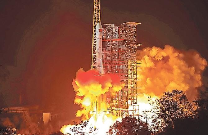 The Chang'e 4 lunar probe launches from the Xichang Satellite Launch Center in southwest China's Sichuan Province, Saturday. Photo: Jiang Hongjing/Xinhua/AP