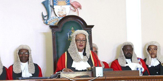 Acting Chief Justice Vera Watkins delivers remarks to officially open the new Legal Year. (BIS Photos/Patrick Hanna)