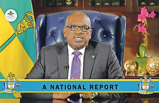 PRIME Minister Dr Hubert Minnis delivers his address on Monday night.
