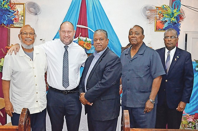From left, human rights activist Joseph Darville, University of The Bahamas Professor Christopher Curry, former Senator Philip Galanis, Rev. Dr CB Moss, and former Member of Parliament Frederick Mitchell