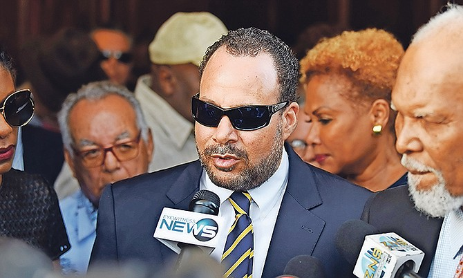 Former PLP Senator Frank Smith speaking to the media after he was acquitted on Friday.