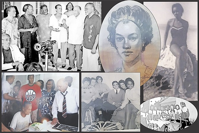 Clockwise from top left: former Governor General Arthur D Hanna during his days at Government House, visited by his siblings Yvonne, Joan, Keva and Patrick and other family members; a sketch of Keva in her younger days; Keva at the beach back in the day; Keva as a part of Bahamas Girl Guides; Keva, far right, with friends visiting The Bahamas; SirArthur sings happy birthday to his cousin Dorcas as other Hanna, Heastie, Tynes family members are gathered.
