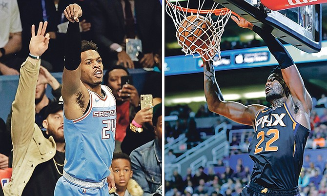LEFT: Sacramento Kings' Buddy Hield makes his 26th basket during the NBA All-Star 3-Point contest Saturday. (AP Photo/Gerry Broome)