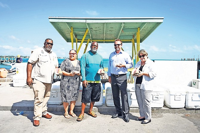 From the left: Eric Carey, Executive Director, Bahamas National Trust (BNT), Janet Johnson, president of BNT, Gregory Brown, Mortagu Association, Colin Lightbourne, Engel & Volkers and Lynn Gate, Deputy Executive Director.  Photo: Terrel W Carey Sr/Tribune Staff