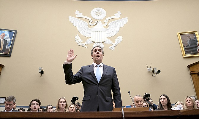 Michael Cohen, President Donald Trump's former personal lawyer, is sworn in to testify before the House Oversight and Reform Committee on Capitol Hill in Washington, last week. (AP Photo/J. Scott Applewhite)