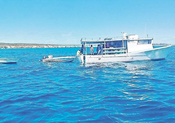 Eight men in total were arrested after they were found fishing in a protected marine preserve in the Berry Islands with scores of conch on board.