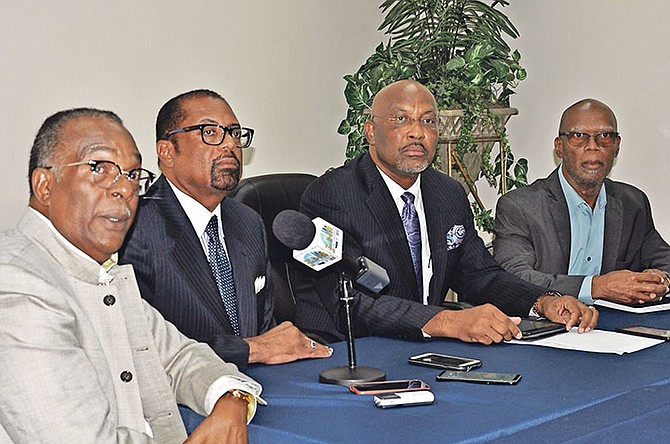 From left: Attorney Carlson Shurland, Kenneth Symonette, Elvis Burrows and Paxton Cooper.               Photo: Vandyke Hepburn