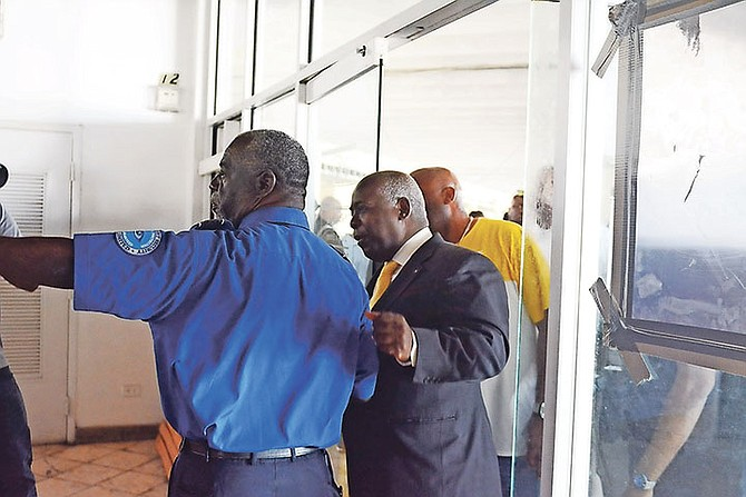 PLP leader Philip 'Brave' Davis at the site. Photo: Shawn Hanna/Tribune staff